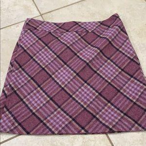 New Talbots Purple Plaid A-Line Wool Skirt 11